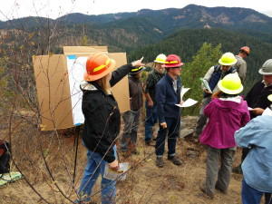 Forest Service staff showing the SWFC the land scape for the Rigdon Project. Jim's Creek Pine oak